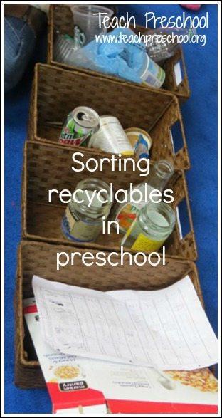 Sorting recyclables in preschool