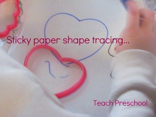 Sticky paper shape tracing in preschool
