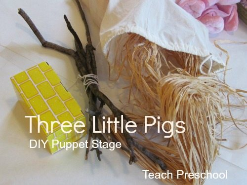 DIY table top puppet stage and The Three Little Pigs