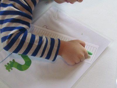 Measuring play dough inchworms