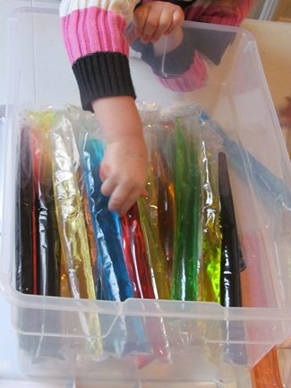Exploring color sticks in preschool