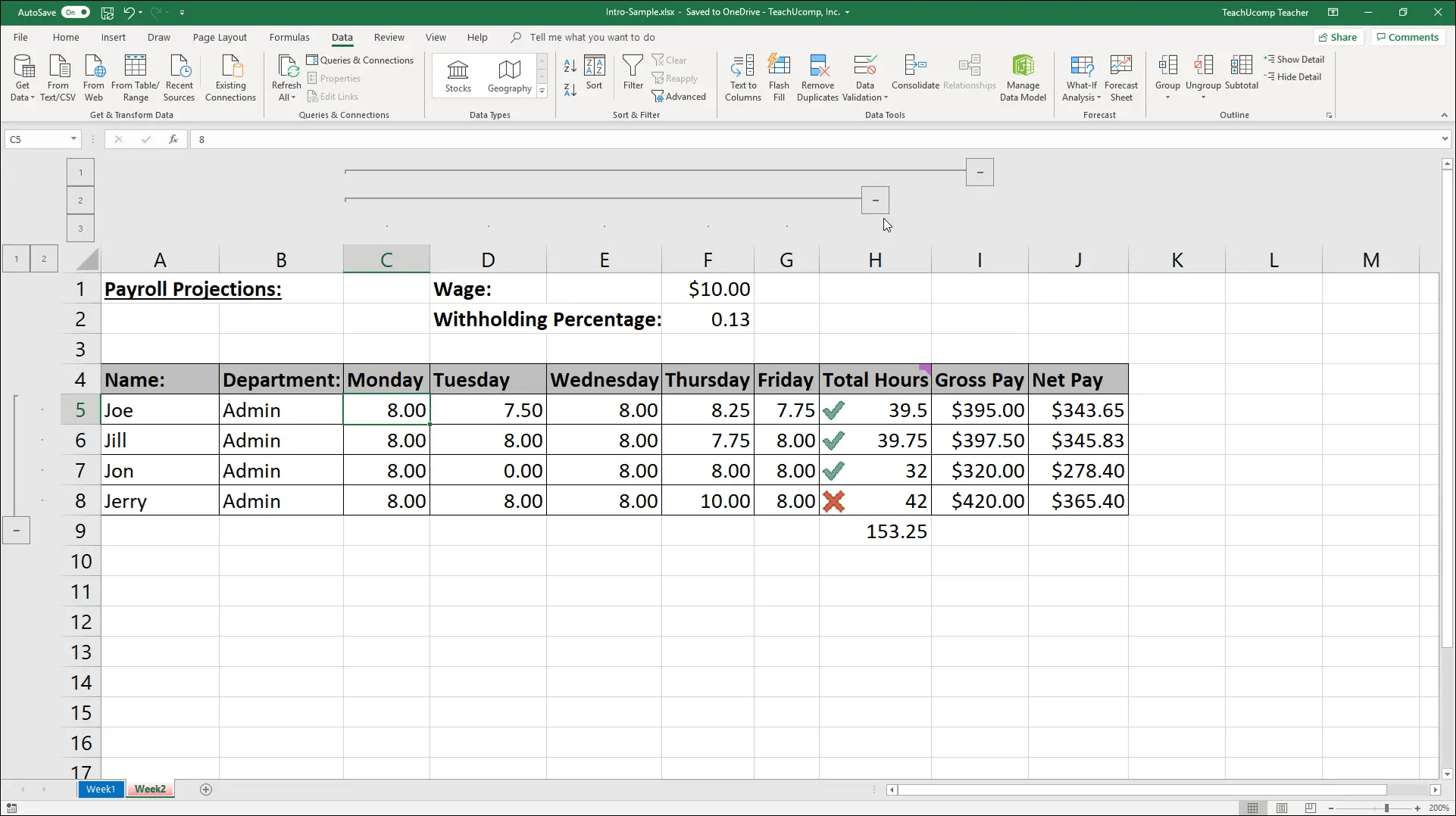 Excel Outline Feature