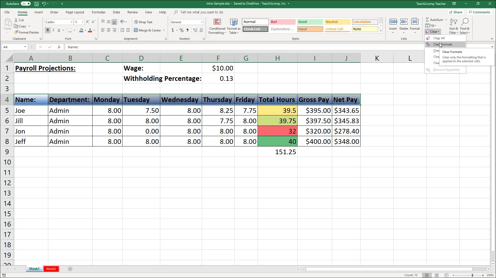 Remove Cell Formatting In Excel