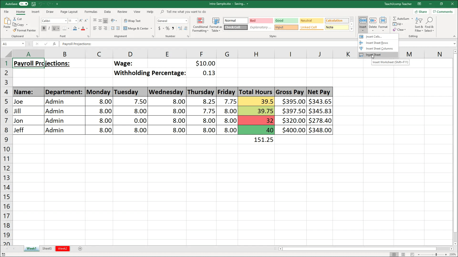 Worksheet With Excel