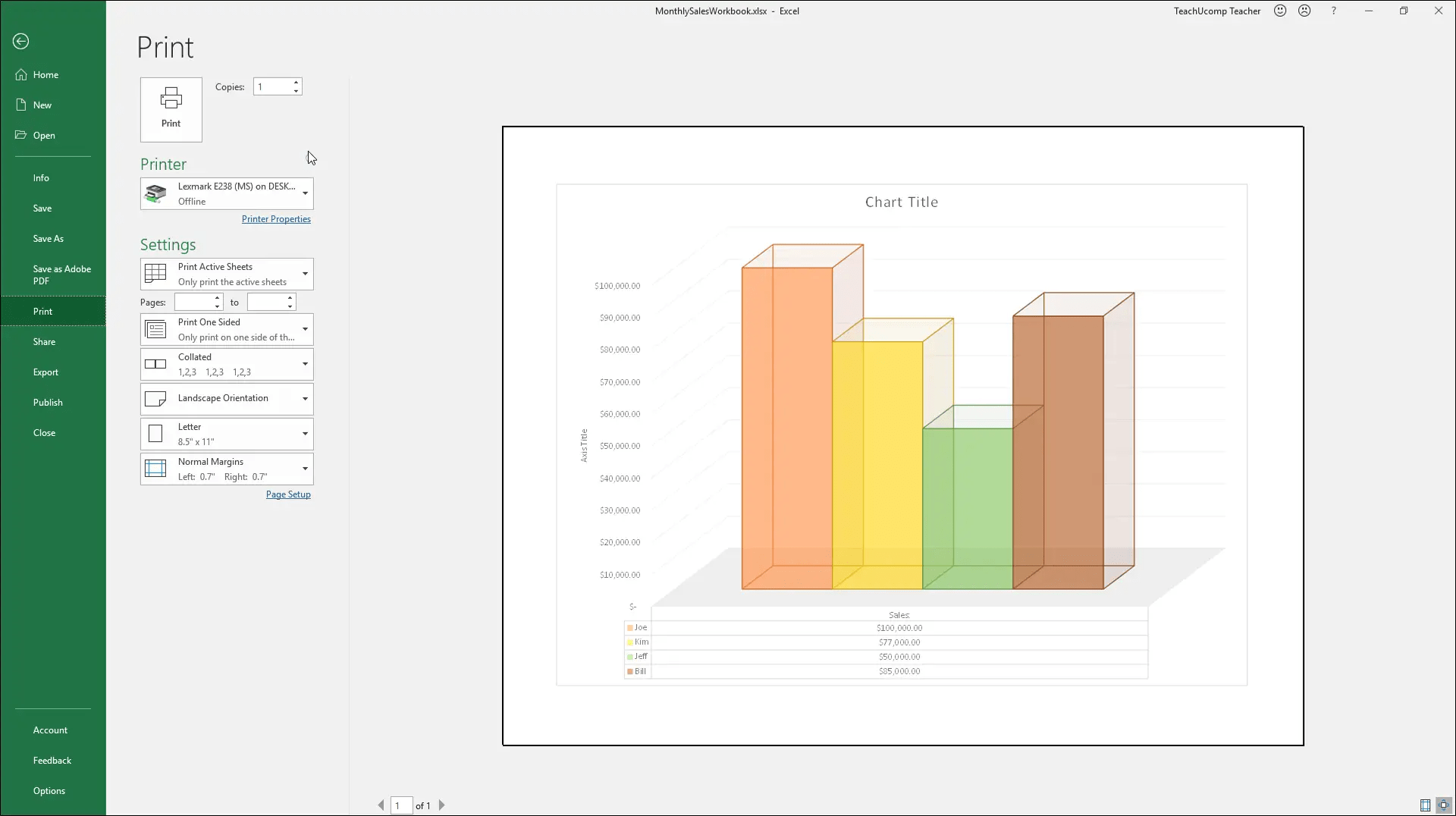 Print A Chart In Excel