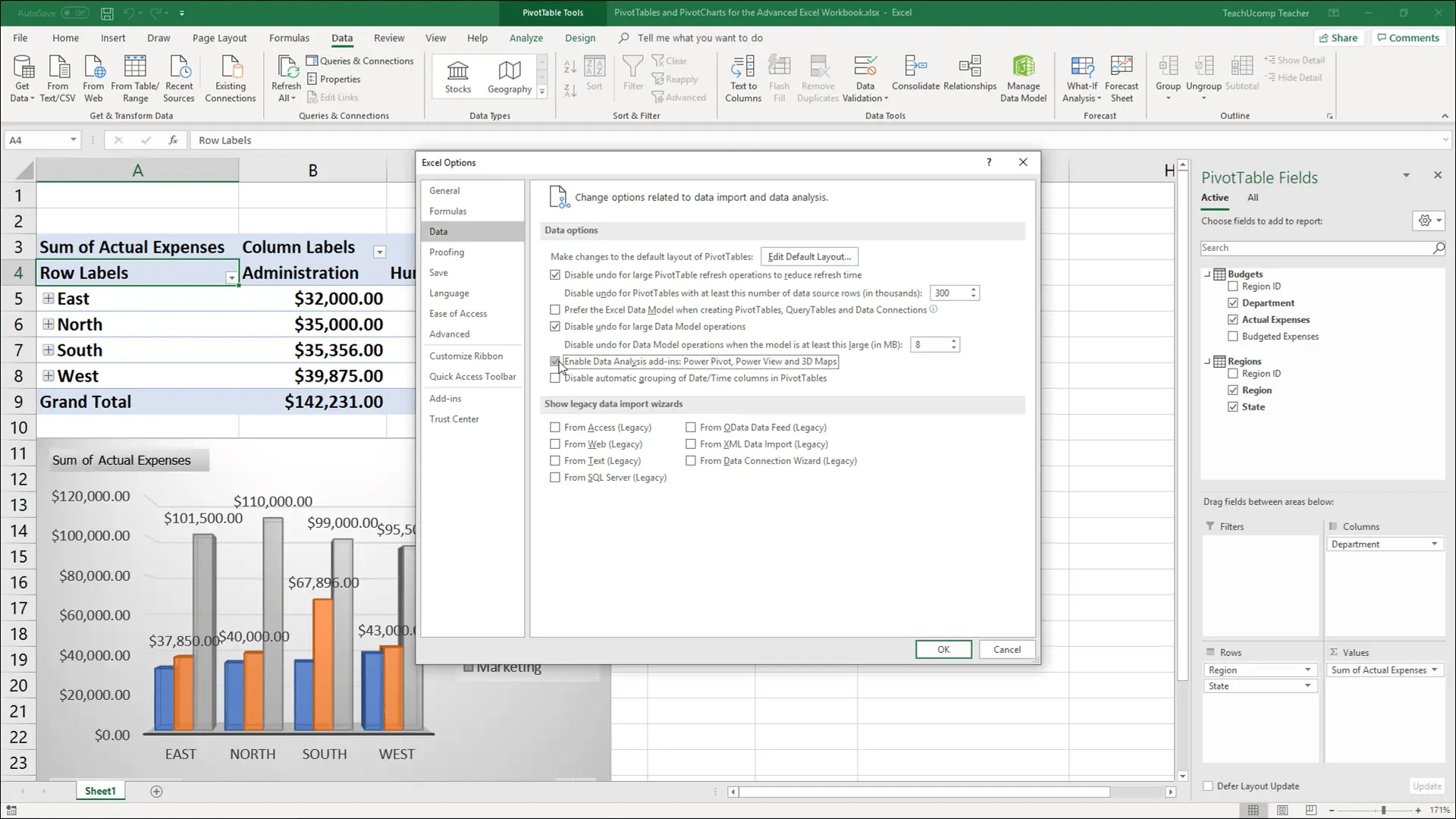 Enable Power Pivot In Excel