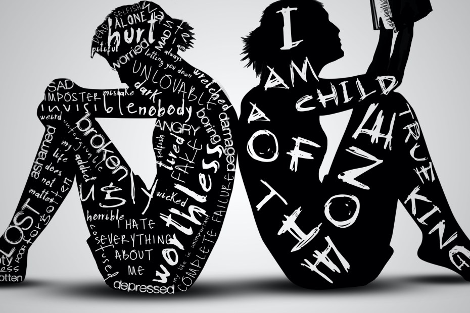 a woman on the left with text written on her expressing her inner turmoil, a woman on the right with text on her showing she is a child of the one true king.