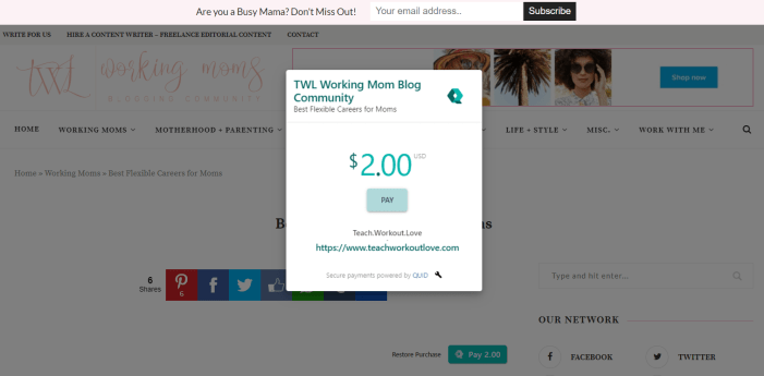 QUID payment option for bloggers to monetize your blog