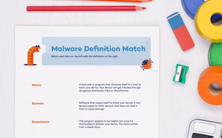 A malware definition match printable that helps kids learn about worms, spyware, ransomware, and more. Tech-themed printable