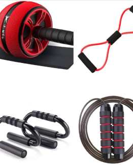 Ab Wheel Roller for Core Workout Pushup Handles for FloorJump Ropes for Fitness Resistant Band Kneeling Pad