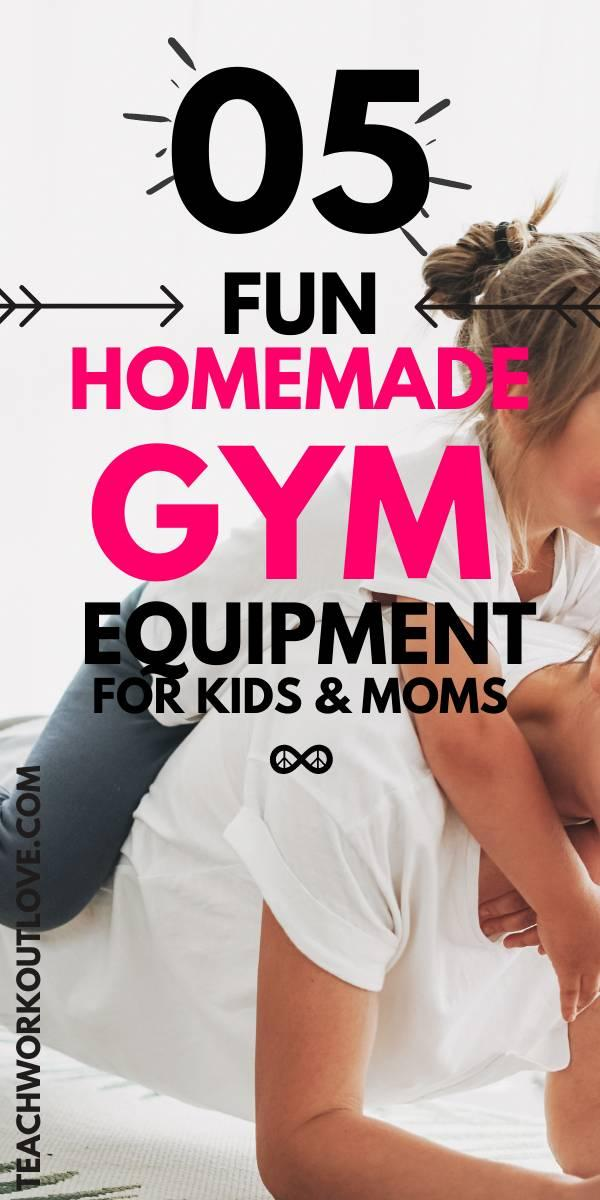 If you're a mom, you know how hard it is to exercise with kids. Make working out with your kids fun with these five DIY equipment ideas.