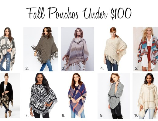 fall ponchos under 100