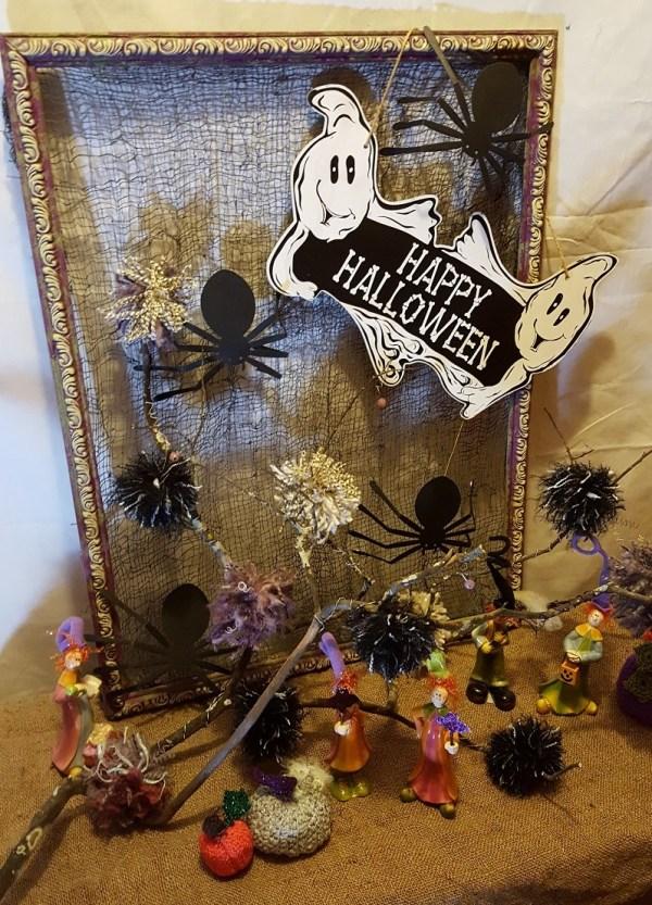 whimsical halloween vignette