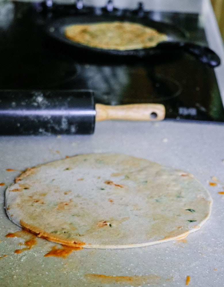 Rolled Out Mooli Wala Paratha - Daikon Stuffed Flatbread