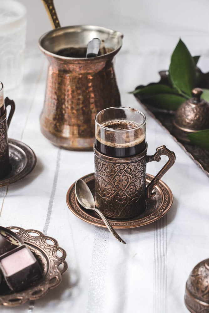 Turkish Coffee in a turkish coffee cup