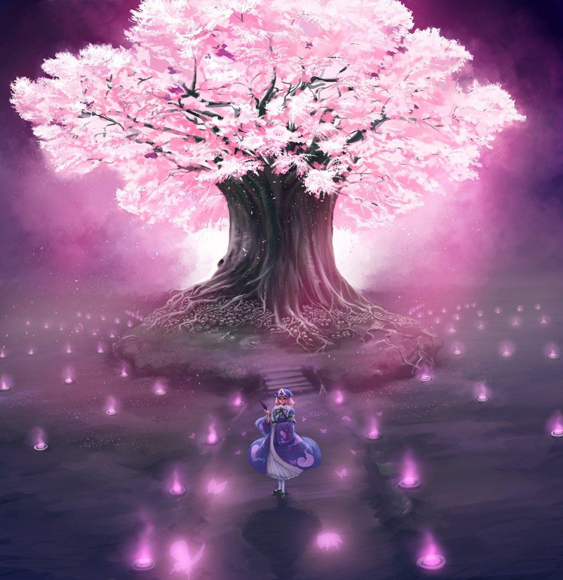 Download Mobile Wallpaper Anime Girls Sakura For Anime Cherry Blossom Tree 700x721 Wallpaper Teahub Io