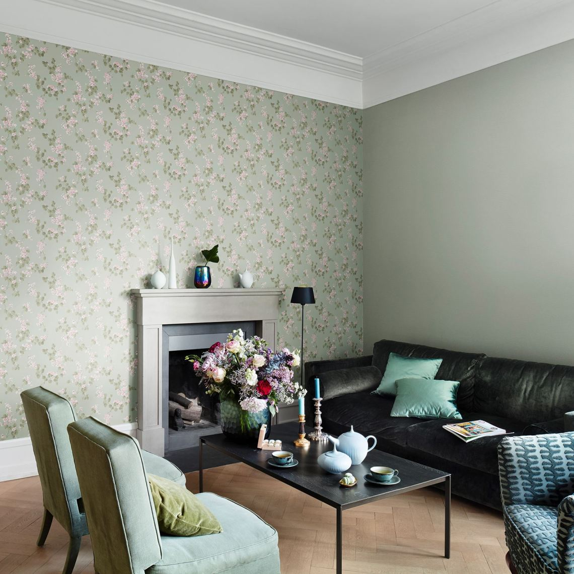 Rasch Emilia Floral Blossom Amp Rose Wallpaper Shabby Mint Green And Green Interior Living Room 1600x1600 Wallpaper Teahub Io
