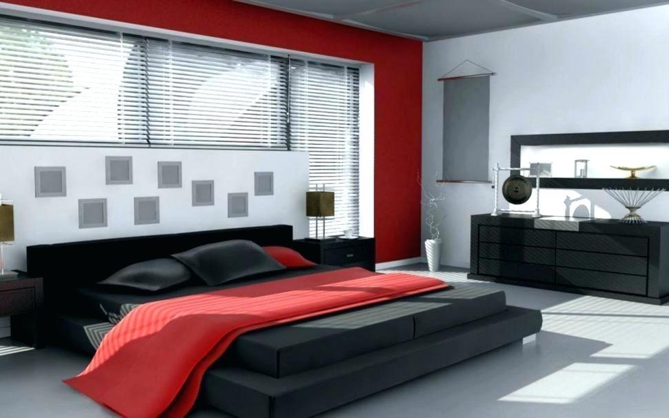 red white bedroom black wallpaper