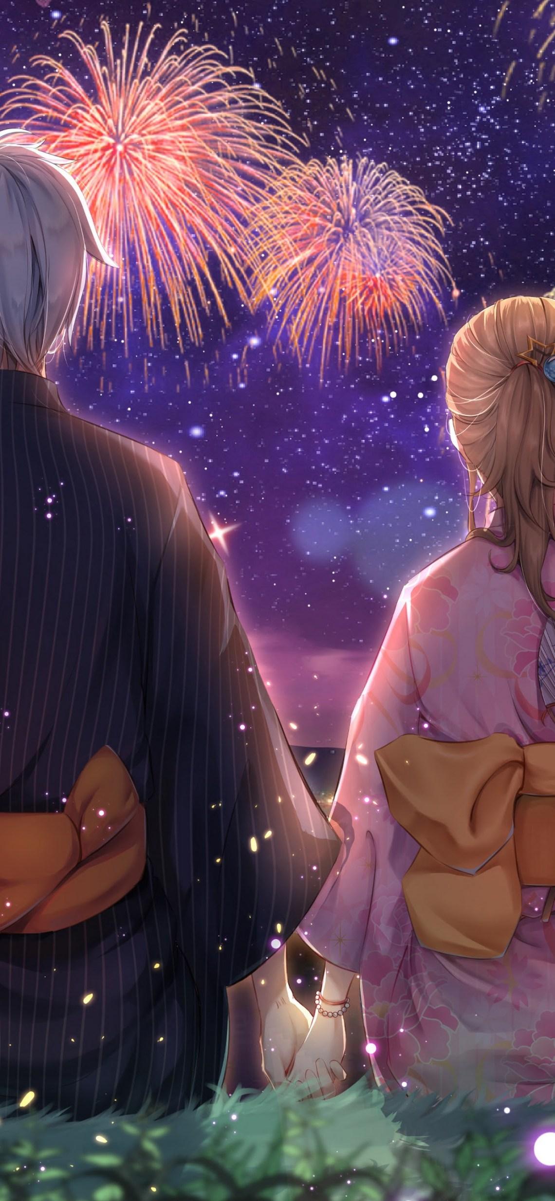 Anime Couple Fireworks Kimono 4k End Of An Era By Really Slow Motion 1242x2688 Wallpaper Teahub Io