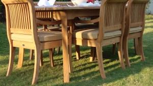 7 Piece Outdoor Teak Patio Dining Set: 83 Rectangle Table