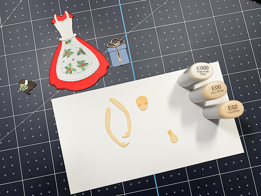 Spellbinders Small Die of the Month: Home for the Holidays. Coloring the  pieces with Copic Sketch Markers.