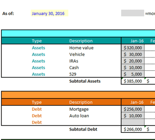 Net Worth Tracking Example Final
