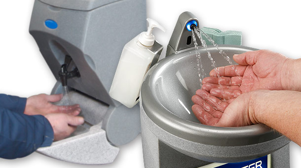 Portable sinks for hand washing in the workplace