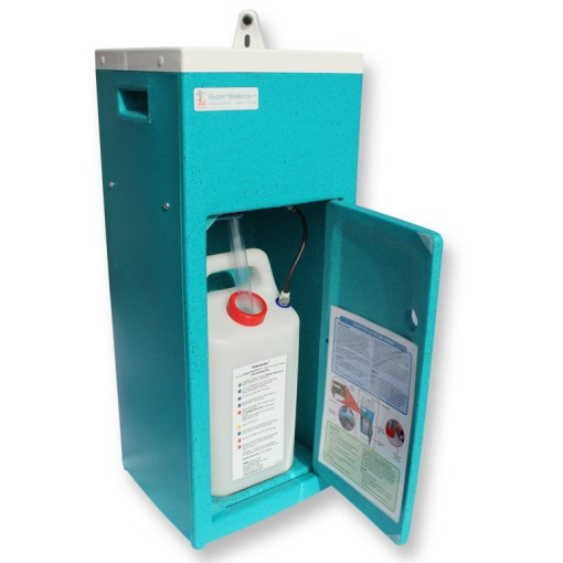 An open Super Stallette portable hand wash basin
