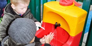 Childcare Expo Coventry featuring portable hand wash sinks for children