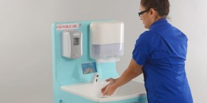 Portable hand wash units for hospital staff and visitors