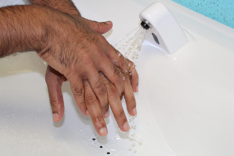 Handwashing with portable sinks to prevent infection