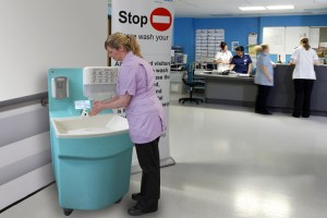 Hand hygiene facilities are available at the point of care with Teal portable sinks