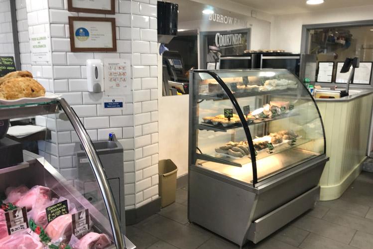 Teal Stallette hand wash unit at Burrow Farm Shop in Devon