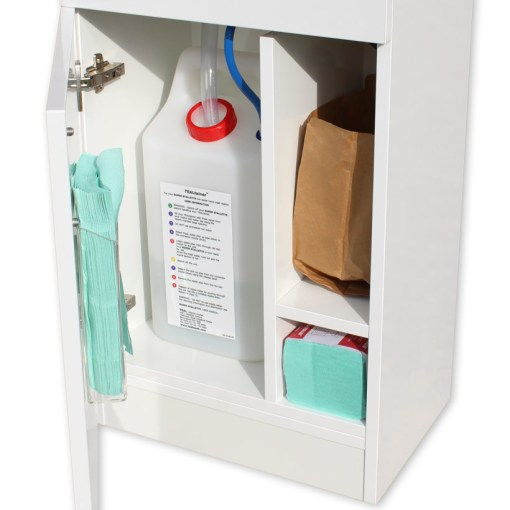 The HandSpa water container and spare hand towels
