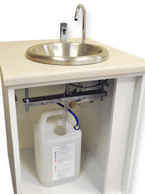 Variant hand wash unit for caterers is supplied in kit form