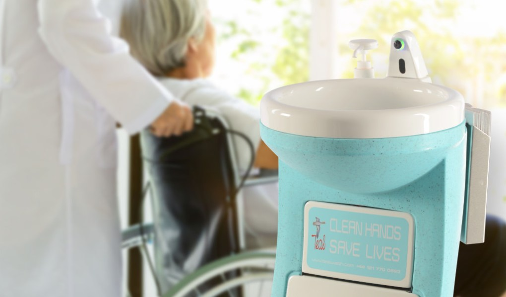 Portable hand wash units for care homes visitors and residents