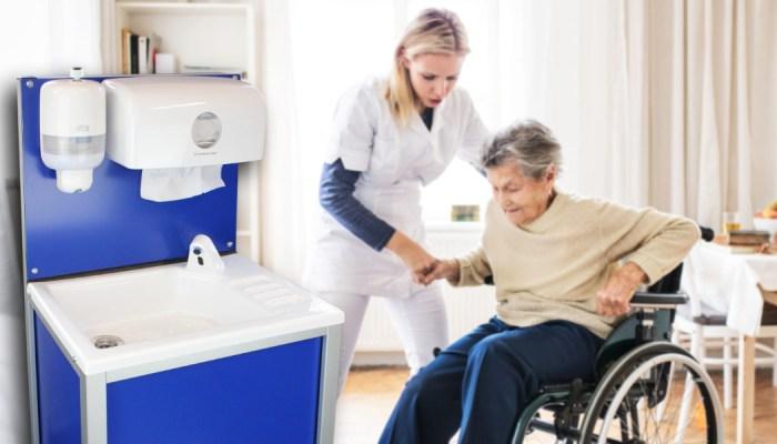 The Teal CliniWash mobile handwash unit for care homes