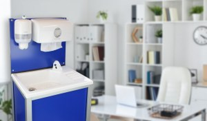A Teal CliniWash portable handwash unit for the workplace
