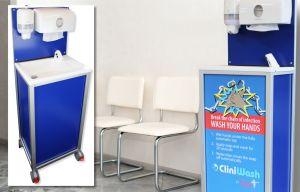 CliniWash portable handwash unit in a waiting room