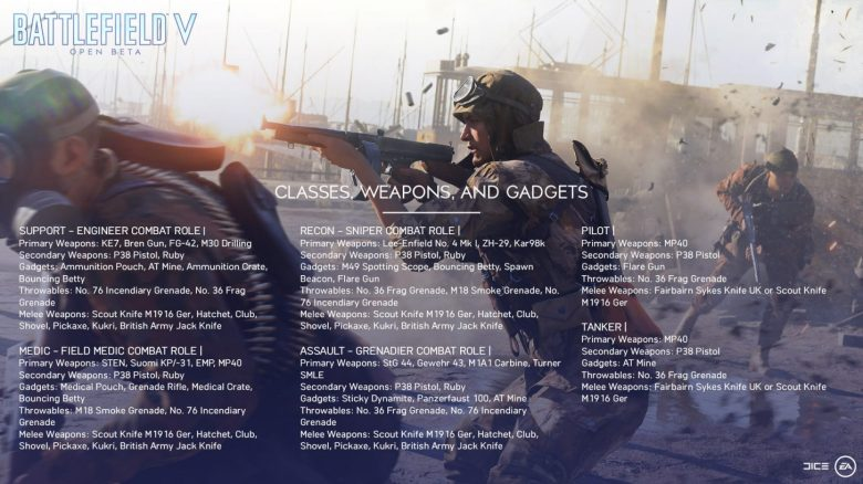 bf5 beta classes weapons gadgets