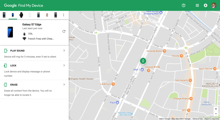 Find Lost Samsung Galaxy Note 8 with Find My Device
