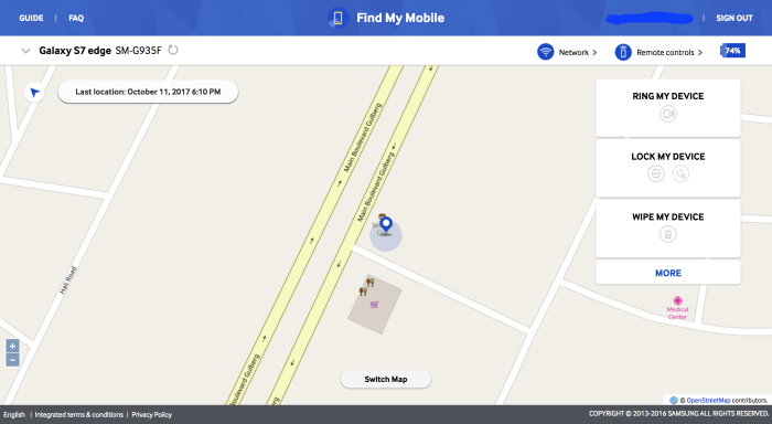Find Lost Samsung Galaxy Note 8 with Find My Mobile