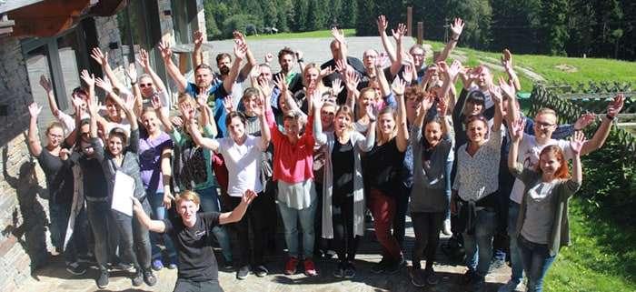 SozKom ARGE Teamfoto beim Teambuilding Event beim Klugbauer am Reinischkogel Siegerfoto