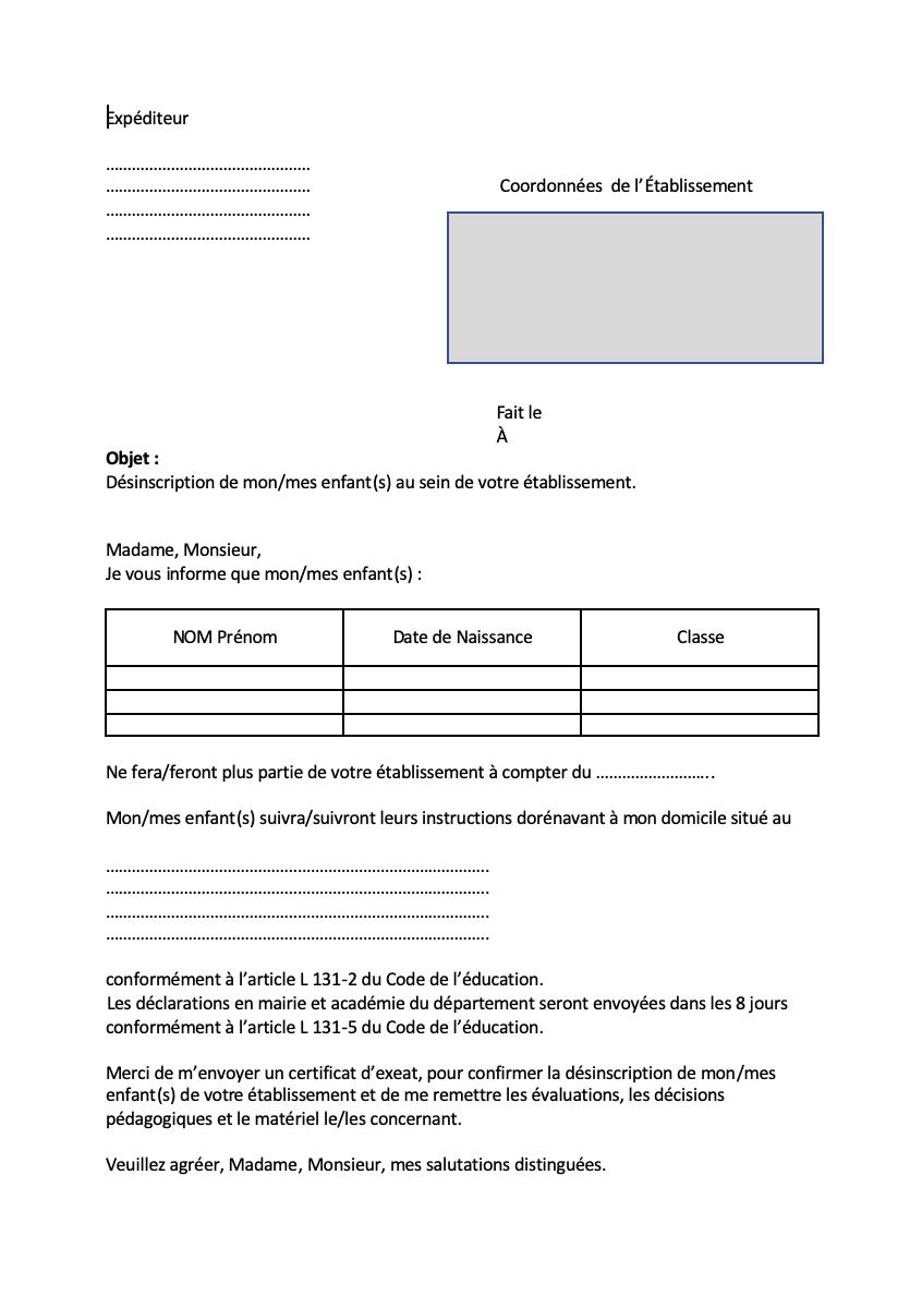 instruction en famille modèle de lettre École