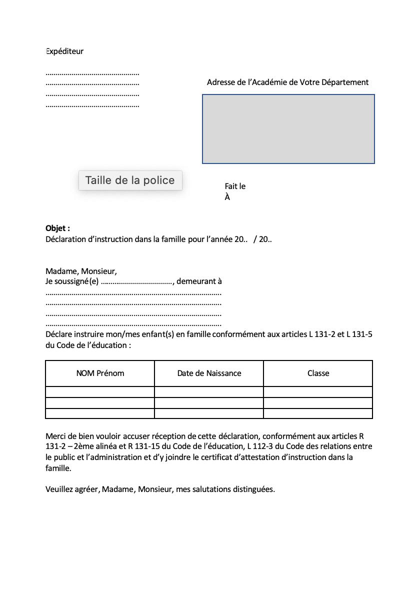 instruction en famille modèle de lettre Académie