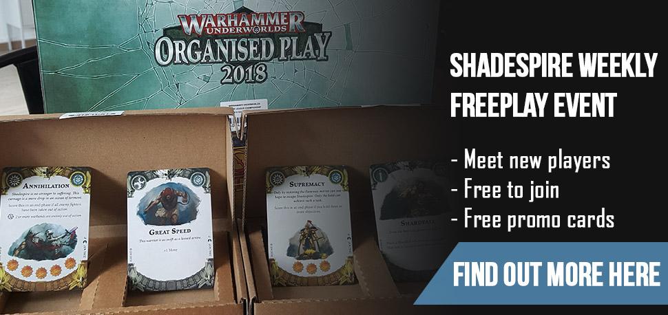 Shadespire Weekly Freeplay Event Banner