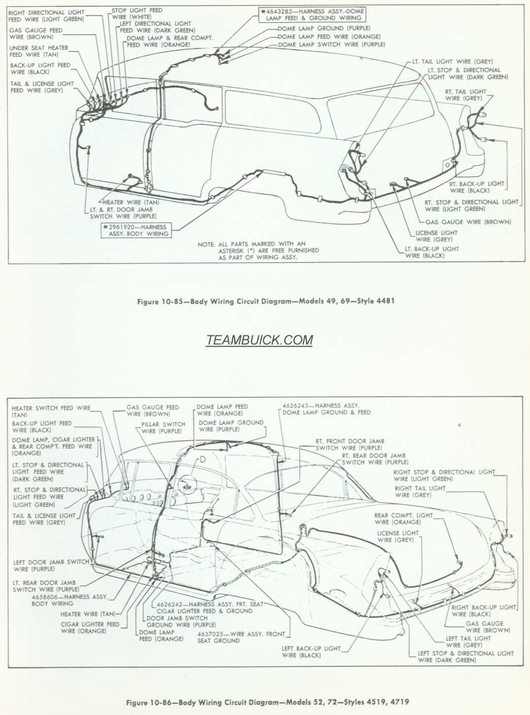 Buick Body Wiring Diagrams Model 46 69 52 72