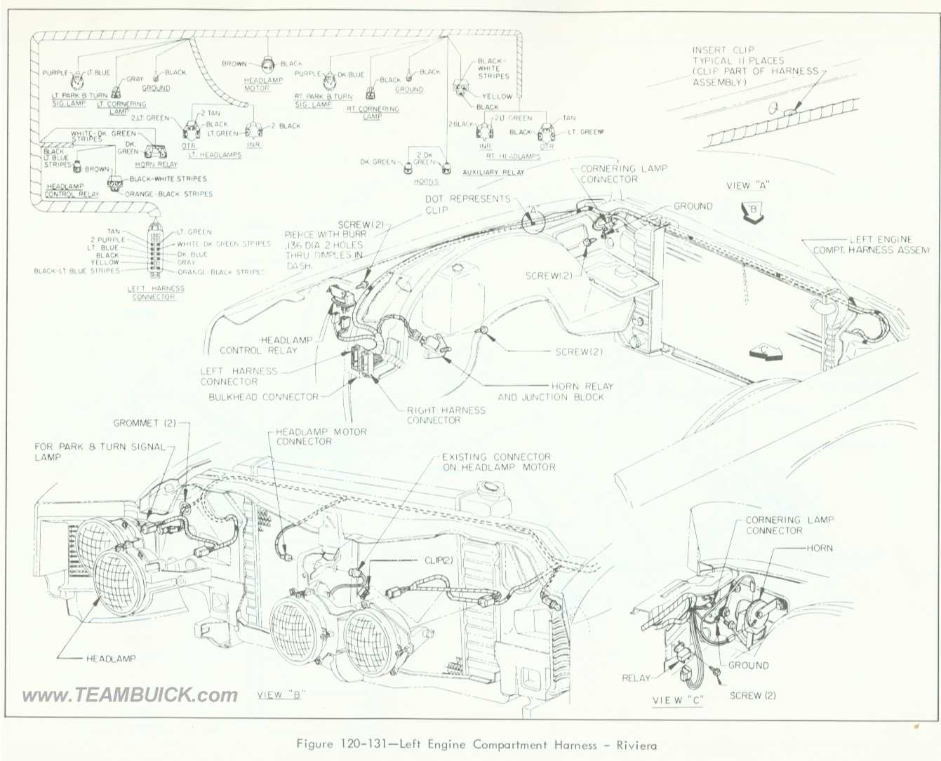 Buick Riviera Left Engine Compartment Wiring
