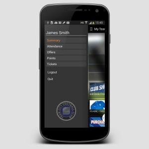 TeamCard mobile app menu