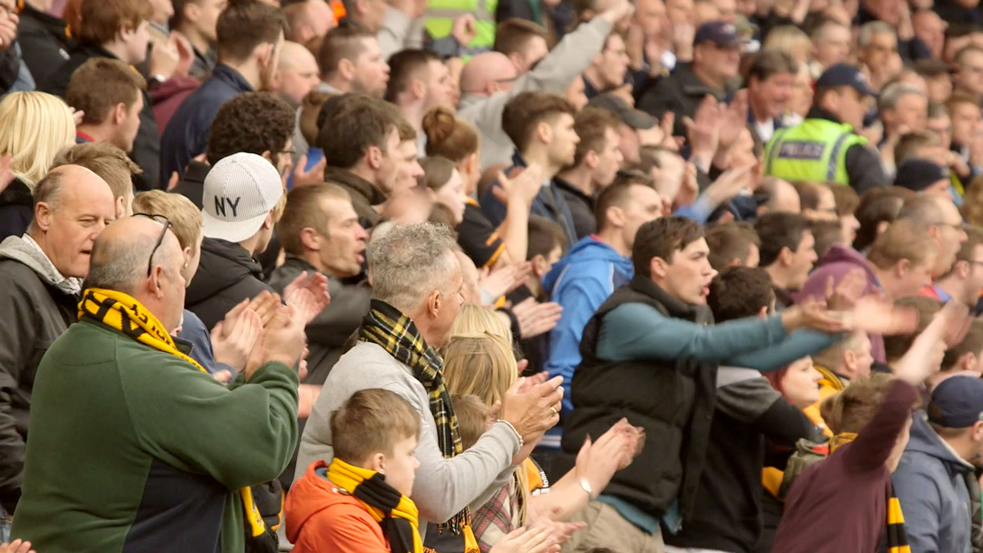 Football fans in the stadium
